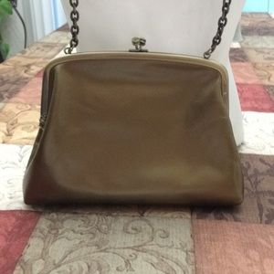 Hobo bronze/gold metal leather kisslock crossbody